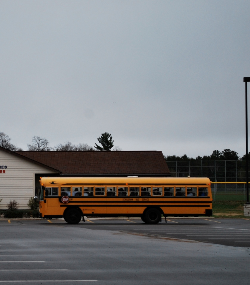 Jeff's bus leaves the parking lot