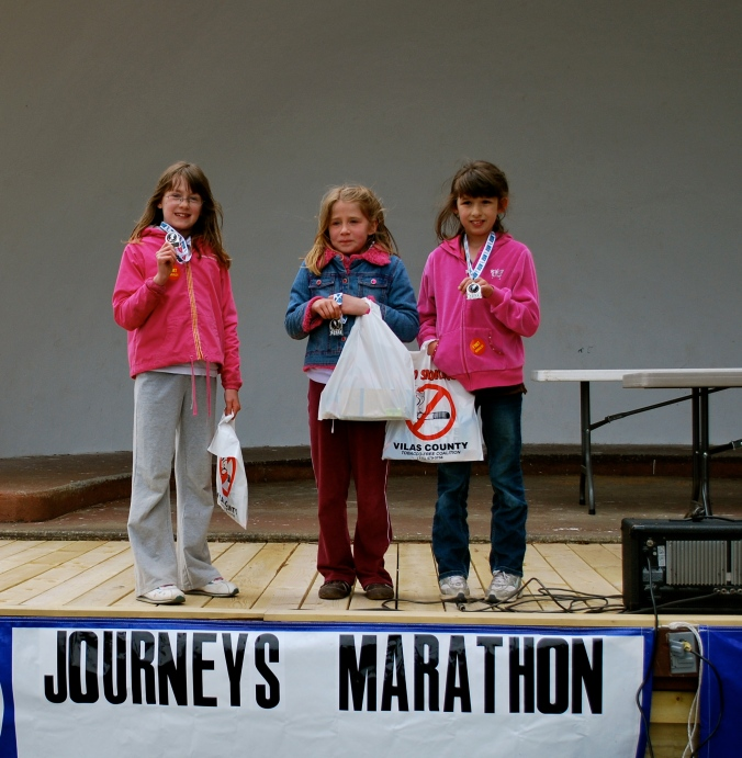 All three girls made it - with no complaining - and were three of only 16 total kids to do it.