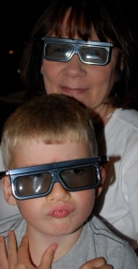 The 5yo and I get ready to be entertained in 3D.