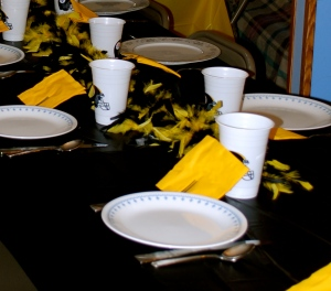 Of course, the table was Steeler-themed.