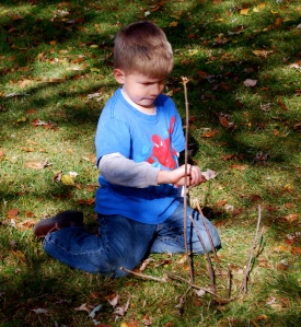 The 5yo plants a stick.