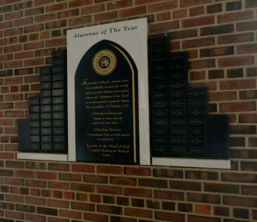 Moody alumnus of the year wall - with Dad's name.