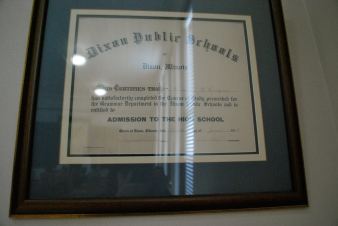 Reagan donated his certificate of graduation out of the school.