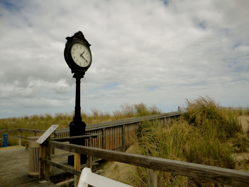 The clock at the beach - see the cloudy sky!
